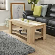 Raymond Coffee Table In Oak And Cream Gloss With Lift Up Top