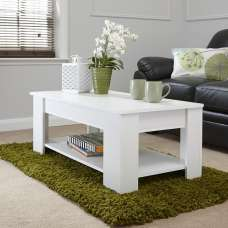 Raymond Coffee Table Rectangular In White With Lift Up Top