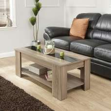 Raymond Coffee Table In Walnut And Black Gloss With Lift Up Top
