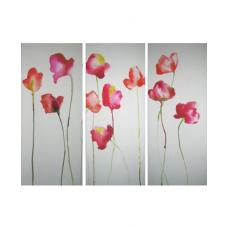 Red Poppies Printed Canvas Set of 3 Wall Art