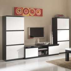 Regal Living Room Set 1 In Black White With High Gloss Lacquer