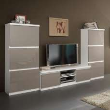 Regal Living Room Set 1 In White Grey With High Gloss Lacquer