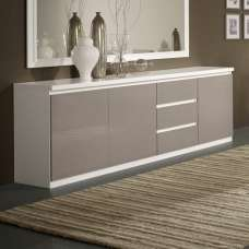 Regal Sideboard In White And Grey With High Gloss Lacquer