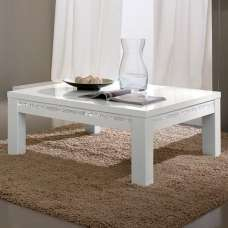 Regal Coffee Table In White With Gloss Lacquer Crystal Details