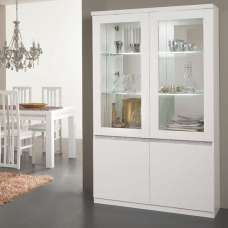 Regal Display Cabinet In White Gloss Lacquer Crystal Decor LED