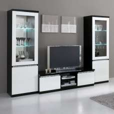 Regal Living Set In Black White With Gloss Crystal Details LED