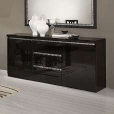 Regal Sideboard In Black With Gloss Lacquer And Crystal Details
