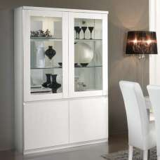 Regal Display Cabinet In White With High Gloss Lacquer And LED