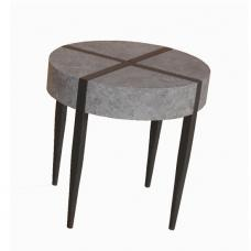 Renzo Round End Table In Dark Concrete With Metal Legs