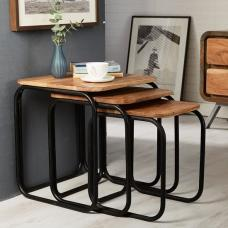 Reverso Wooden Nest Of Tables In Reclaimed Wood And Iron