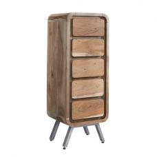 Reverso Wooden Tall Chest Of Drawers In Reclaimed Wood And Iron