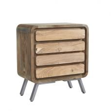 Reverso Wooden Wide Chest Of Drawers In Reclaimed Wood And Iron
