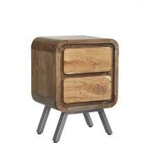 Reverso Wooden Lamp Table In Reclaimed Wood And Iron