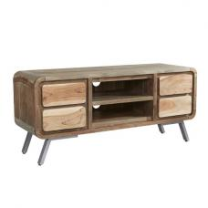 Reverso Wooden TV Stand In Reclaimed Wood And Iron