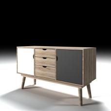 Rhine Wooden Sideboard In Sonoma Oak Grey And White