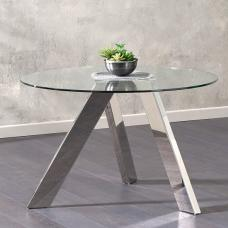 Rictor Round Clear Glass Dining Table With Stainless Steel Legs