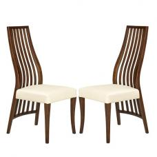 Riley Dining Chair In Cream With Wooden Frame In A Pair