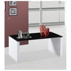 Rio Black Glass Coffee Table With White Gloss Legs