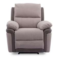 Risor Recliner Sofa Chair In Oatmeal Grey Fabric And PU