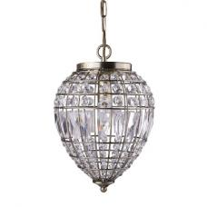 Riva Ceiling Pendant In Antique Brass With Crystal Glass Buttons