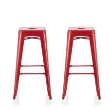 Rocky 76cm Metal Bar Stools In Glossy Red In A Pair