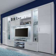 Roma Entertainment Unit In White With High Gloss Fronts And LED