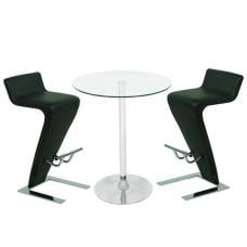 Roma Glass Bar Table In Clear With 2 Farello Black Bar Stools