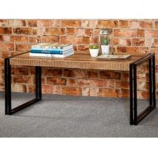 Clio Coffee Table Rectangular In Reclaimed Wood And Metal Fra