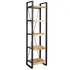 Clio Slim Bookcase In Reclaimed Wood And Metal Frame