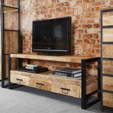 Clio TV Stand Rectangular In Reclaimed Wood And Metal Frame