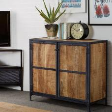 Romarin Compact Sideboard In Reclaimed Wood And Metal Frame
