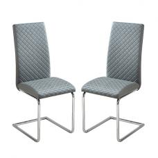 Ronn Dining Chair In Grey Faux Leather In A Pair