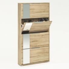 Rosana Mirrored Shoe Cabinet In Brushed Oak With 4 Flap Doors