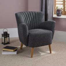 Rosario Fabric Lounge Chair In Charcoal With Wooden Legs