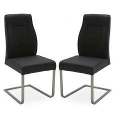 Roscoe Dining Chairs In Charcoal PU And Metal Base In A Pair