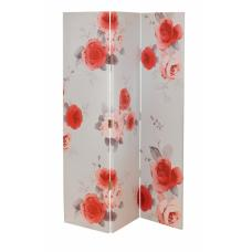 Victorian Rose Canvas Room Divider in Blush Tones Of Red