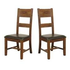 Ross Ladderback Faux Leather Dining Chair In Acacia In A Pair