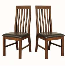 Ross Slatback Faux Leather Dining Chair In Acacia In A Pair