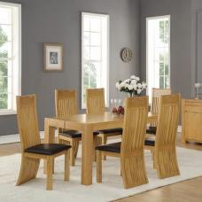 Rossdale Rectangular Dining Table In Solid Oak With 6 Chairs