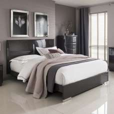 Rossetto Contemporary King Size Bed In Grey High Gloss