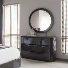 Rossetto Dresser And Mirror In Grey High Gloss