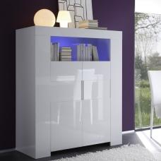 Rossini Wooden Highboard In White Gloss With 2 Doors And LED