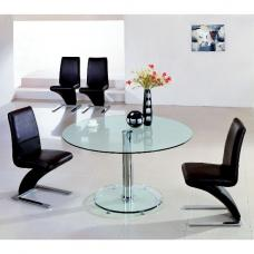Maxi Round Clear Glass Dining Table And 6 Z Chairs