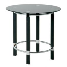 Round End Table In Black Glass Top