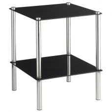 2 Tier End Table In Black Glass With Chrome Legs
