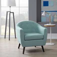Salix Fabric Lounge Chair In Duckegg With Wooden Legs