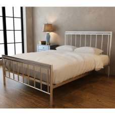 Salsa Contemporary Metal Double Bed In Chrome And Silver