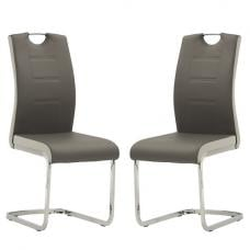 Samson Cantilever Dining Chair In Grey Faux Leather In A Pair