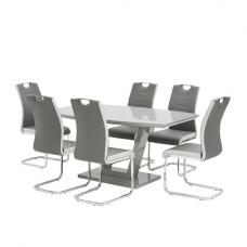 Samson Glass Dining Table In Grey High Gloss With 6 Chairs