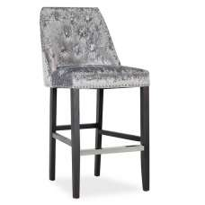 Samuel Bar Chair In Crushed Silver Velvet With Wooden Legs